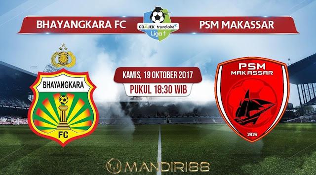 Duel Bhayangkara FC melawan PSM Makassar pada pekan ke Berita Terhangat Prediksi Bola : Bhayangkara FC Vs PSM Makassar , Kamis 19 Oktober 2017 Pukul 18.30 WIB
