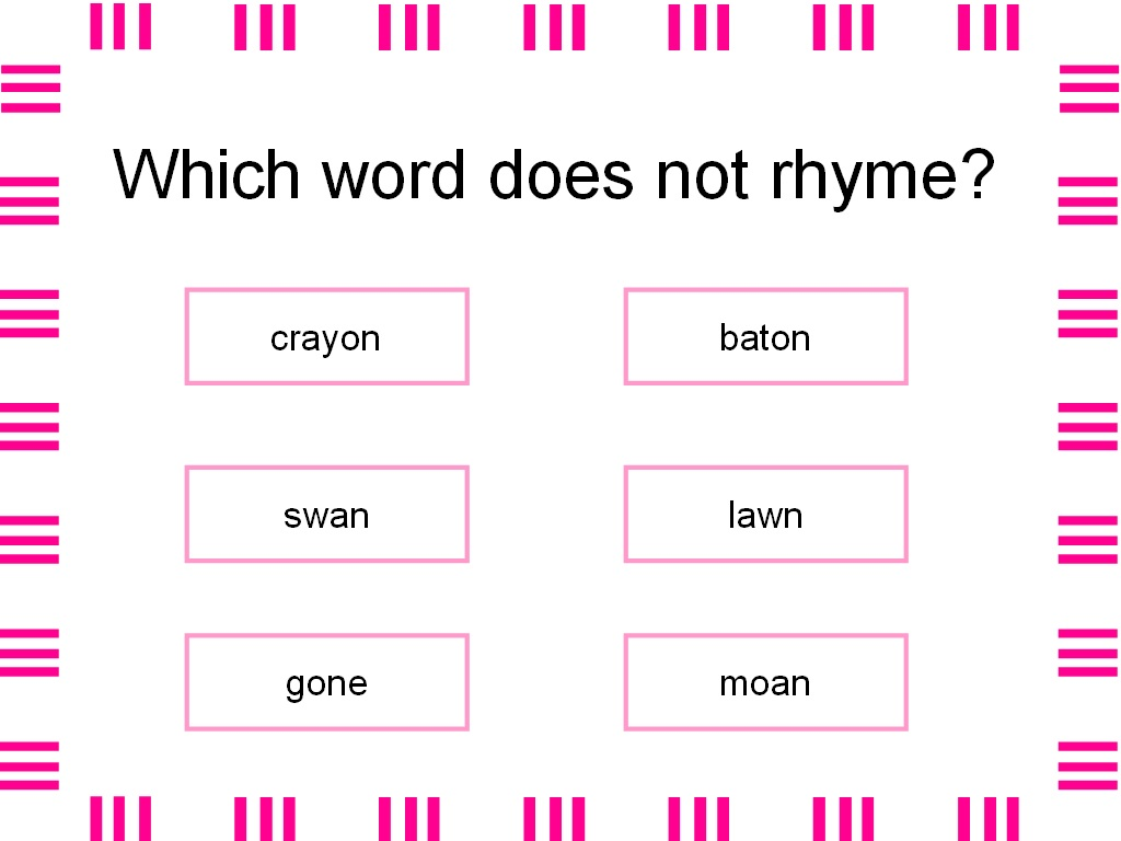 Worksheet Words Rhyming With Lie student survive 2 thrive which word does not rhyme crayon baton swan lawn gone moan