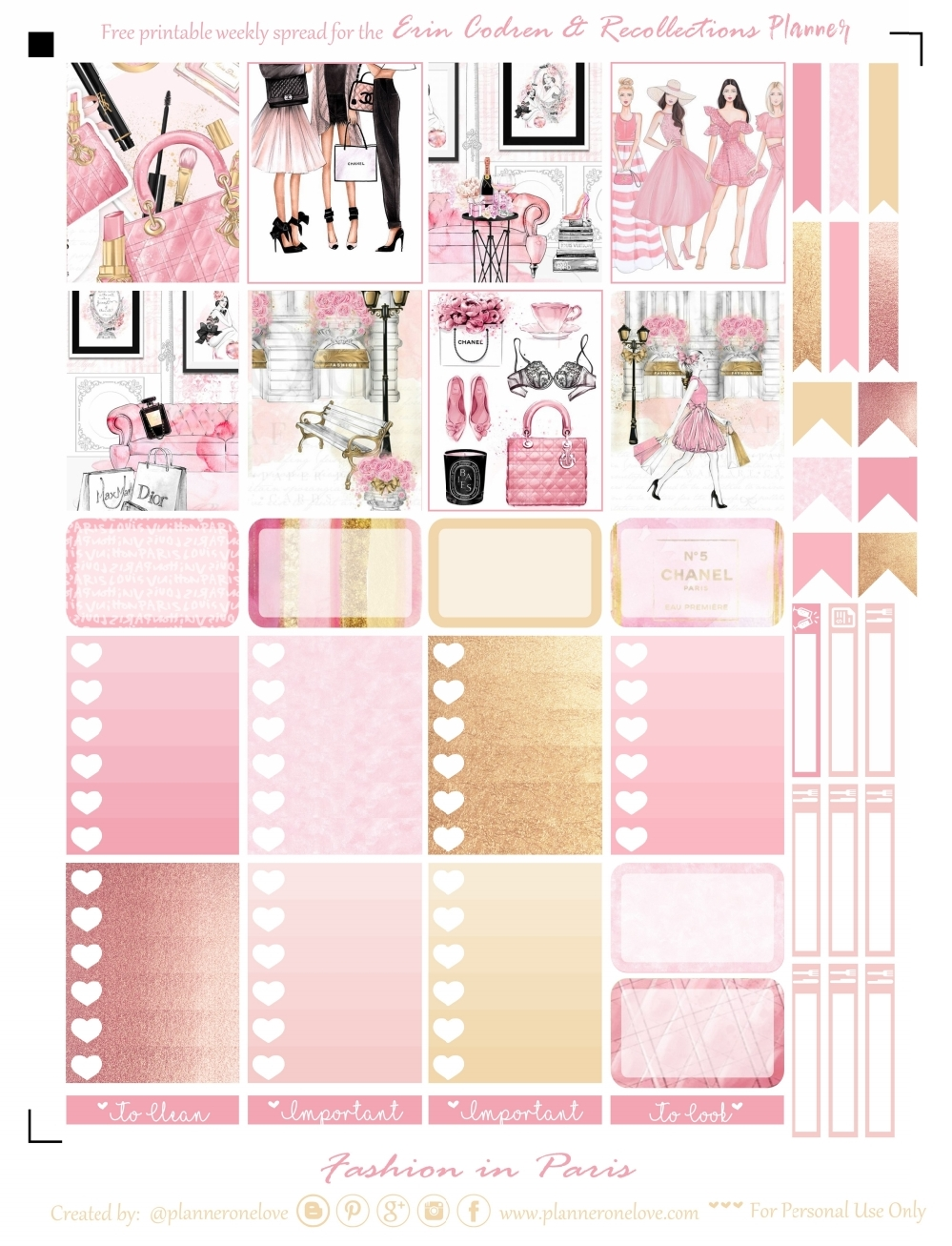 picture regarding Printable Fashion named Totally free Design and style/Paris Printable Printable Planner Stickers for