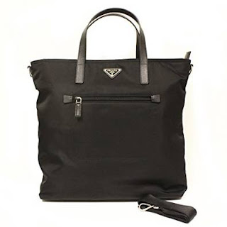 Prada Nero Tessto Nylon and Leather Handbag