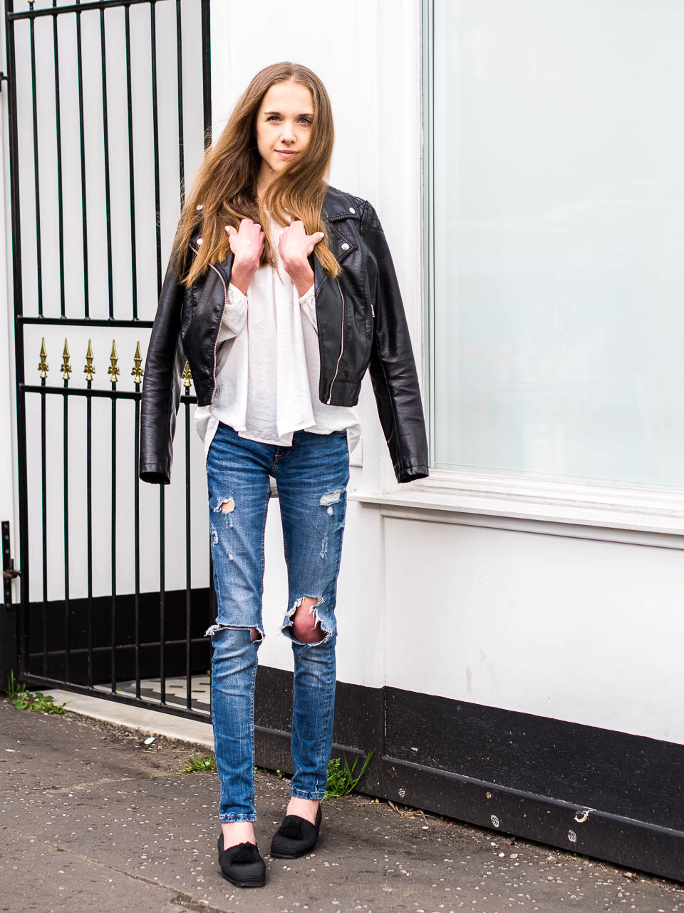 biker-jacket-distressed-jeans-stuart-weitzman-tassel-shoes