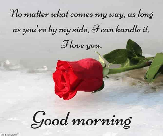 good morning love text message to her with red rose