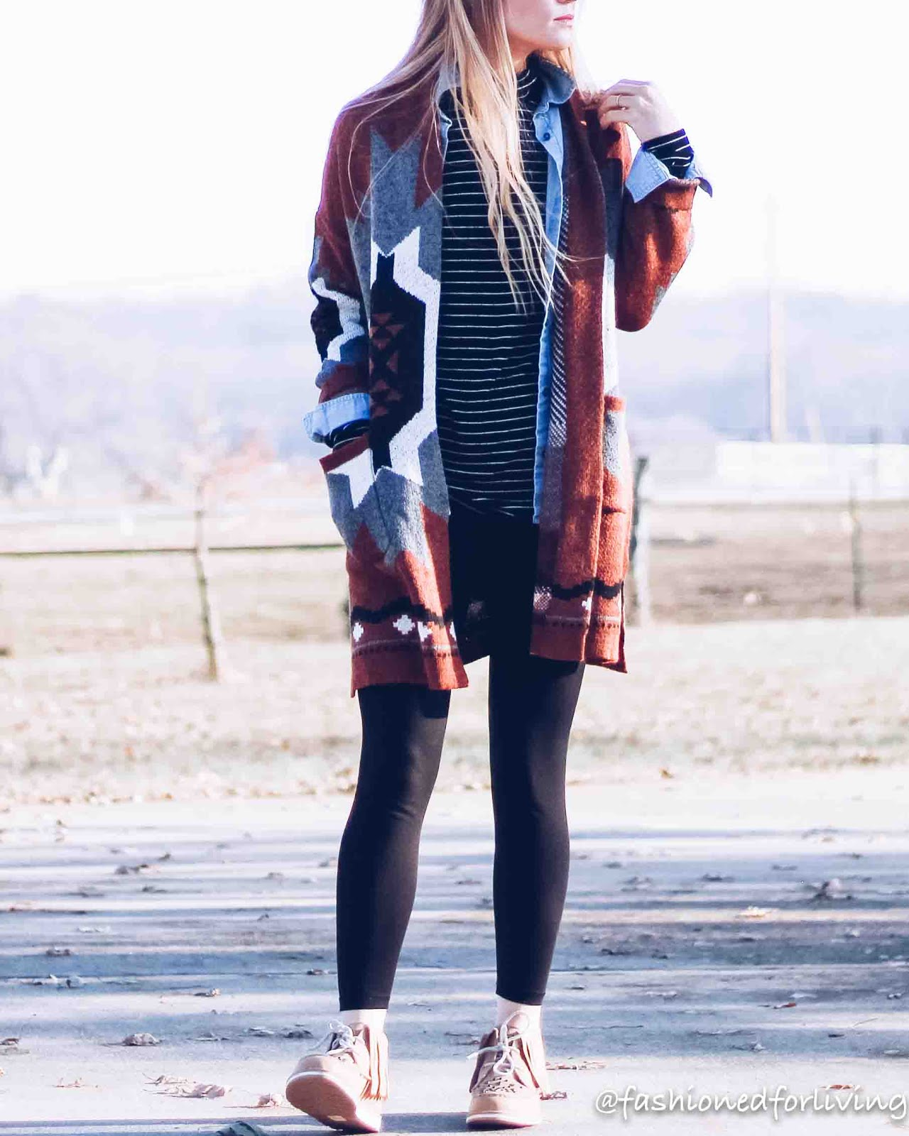 ariat cruisers outfit with tribal cardigan and leggings