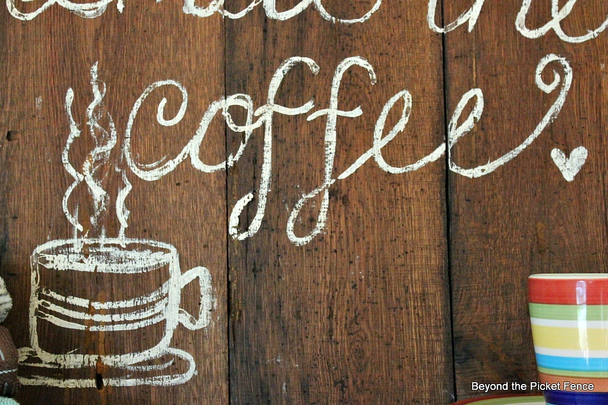 coffee sign, embracing imperfection http://bec4-beyondthepicketfence.blogspot.com/2014/08/my-imperfect-coffee-sign-just-keeping.html