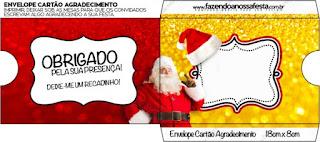 Sobre  para invitacion  de Santa Claus en Rojo y Dorado.