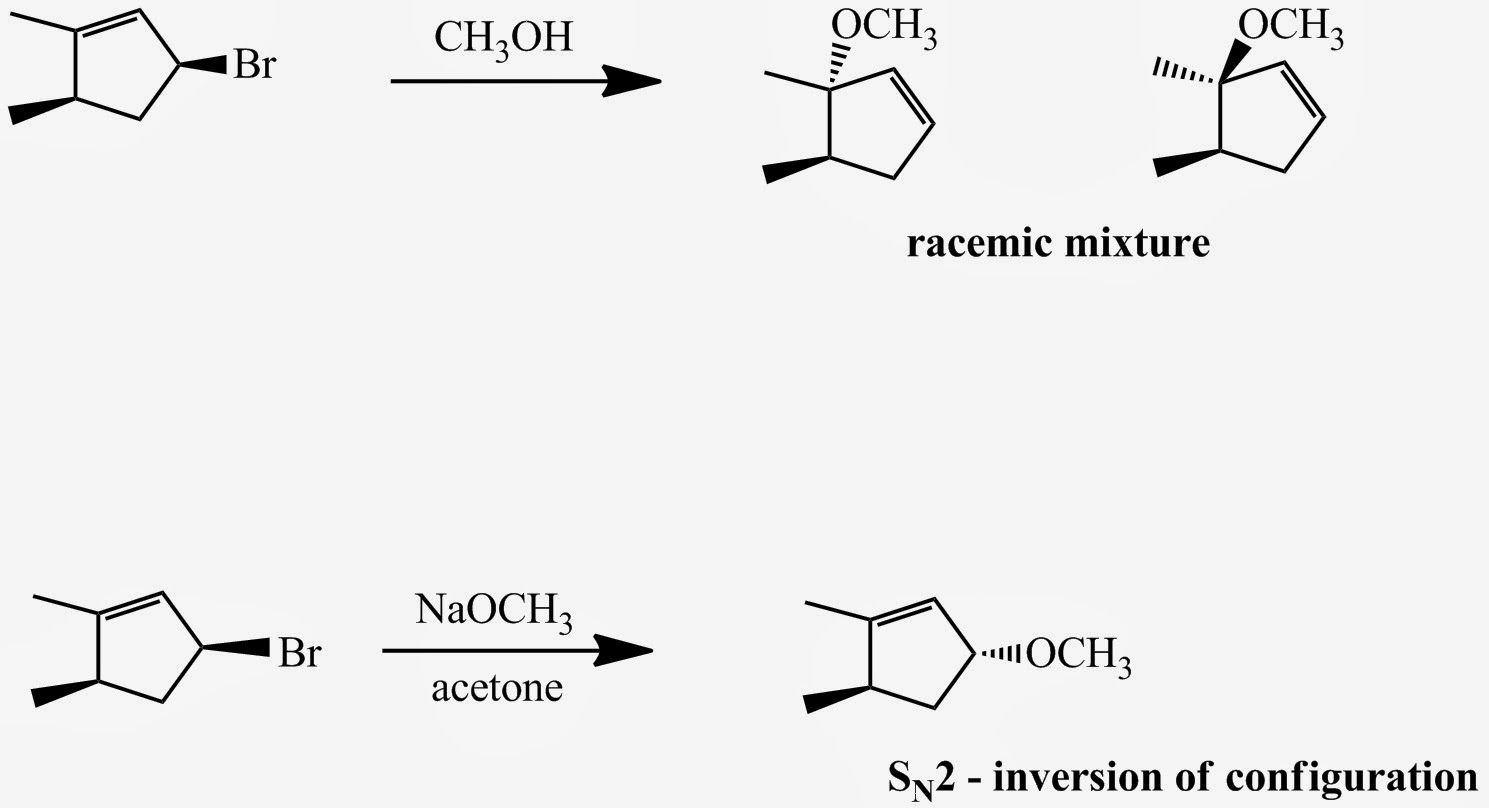 Fig. 4: The secondary substrate shown above reacts with CH3OH - a protic solvent and weak nucleophile – in an SN1 fashion to produce two products – a racemic mixture. The same substrate in the presence of methoxide in acetone – an aprotic solvent – reacts in an SN2 fashion to give a single product with inversion at the C atom attached to the Br.