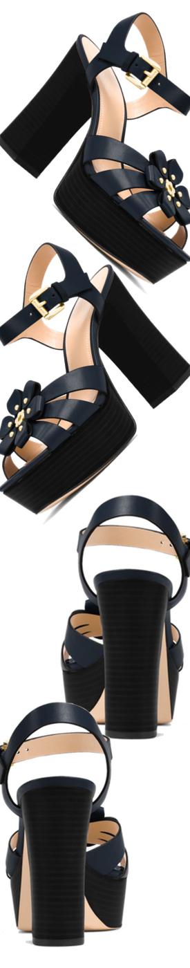 MICHAEL MICHAEL KORS Tara Floral Embellished Leather Platform Sandal