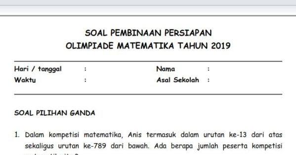 Soal Pembinaan Olimpiade Matematika Sd Level Mudah Sekolahdasar Net
