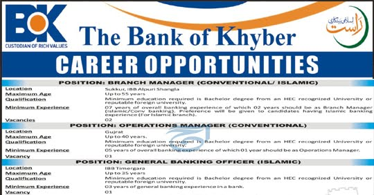 Bank of Khyber Jobs 2020 Career Opportunities