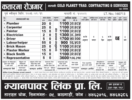 Jobs For Nepali In Qatar, Salary -Rs.1,06,000/