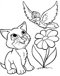 Cute Cats And Bird On Yard Coloring Pages