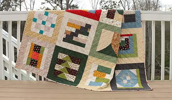 Better View of Bottom Blocks on Quilt made from Alphabet Themed Fabric