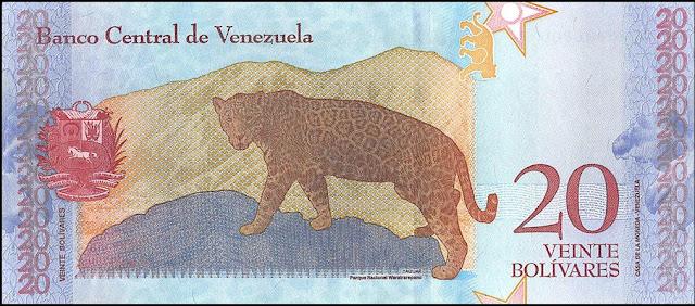 Venezuela Currency 20 Bolivares Soberanos banknote 2018 Jaguar Panthera