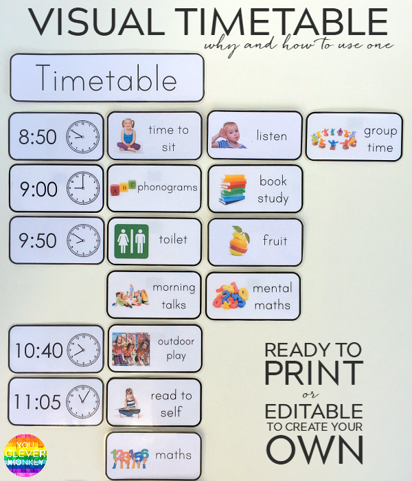 Why and how to use visual timetable effectively you for Kindergarten timetable template