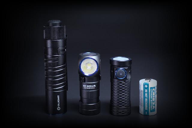 Od lewej: Olight M1T Raider, Olight H1 Nova, Olight S1 Mini oraz ogniwo CR123A