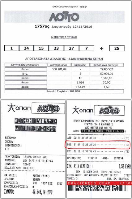 50.000 ευρώ στο Ναύπλιο με δελτίο ΛΟΤΤΟ του 1,5 ευρώ