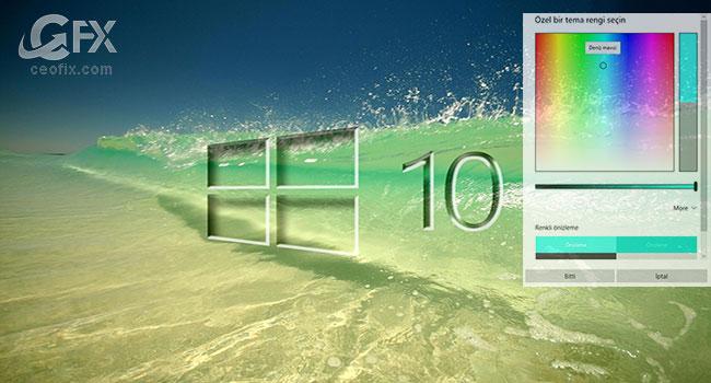 Windows 10 da Başlat Menüsü ve Görev Çubuğu Rengini Değiştir