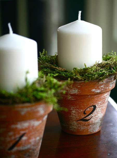 centro de mesa navideño diy elaborado con maceta y velas