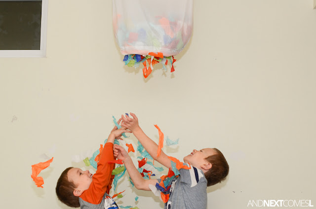 Easy New Year's Eve activity for kids: make a confetti drop from And Next Comes L