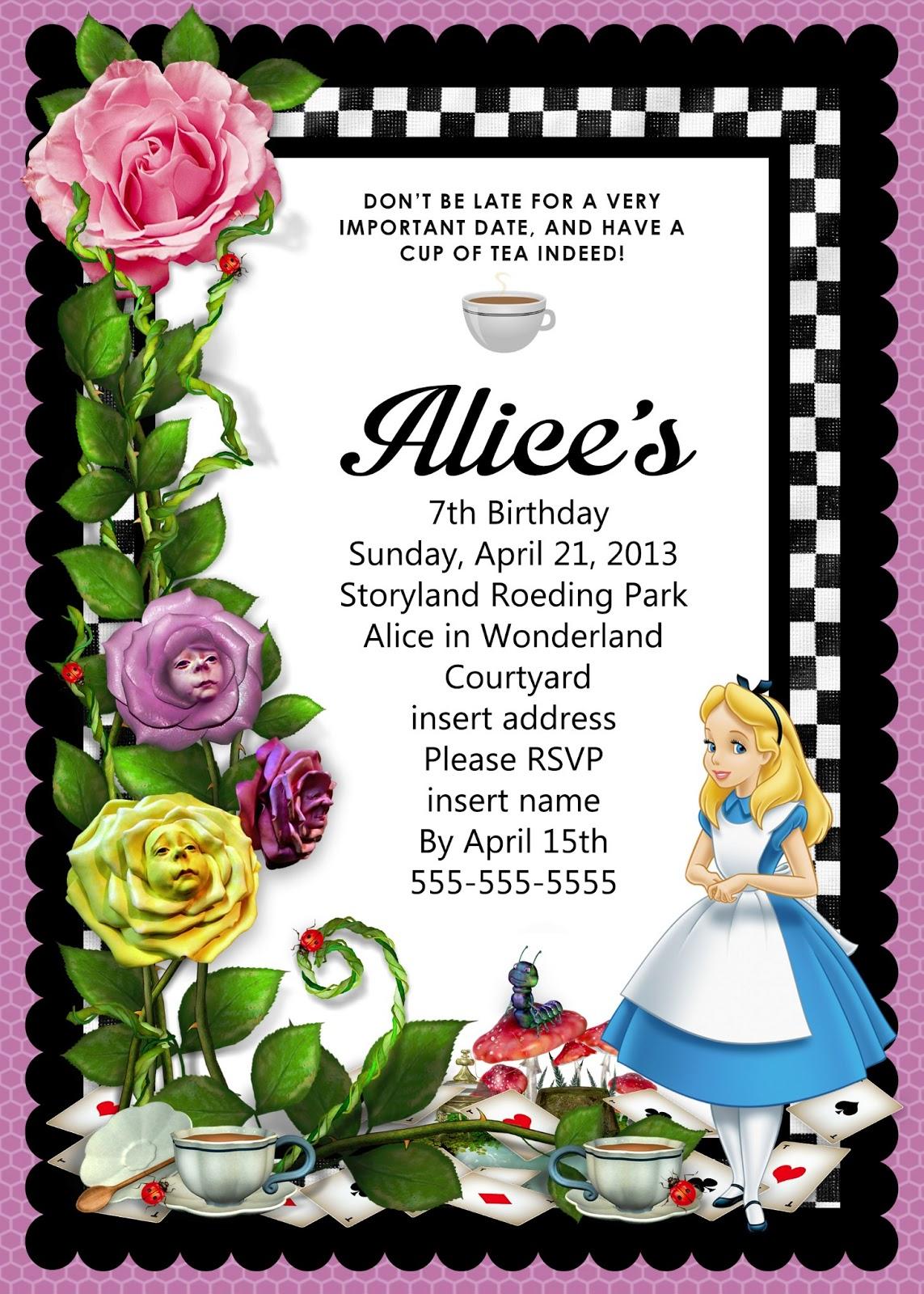 2 Free Printable Alice In Wonderland Birthday Invitations Free In