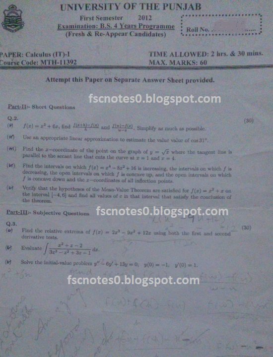 BS (Hons) IT Information Technology Past Papers Semester 1 Calculus (IT) I 2012 Asad Hussain