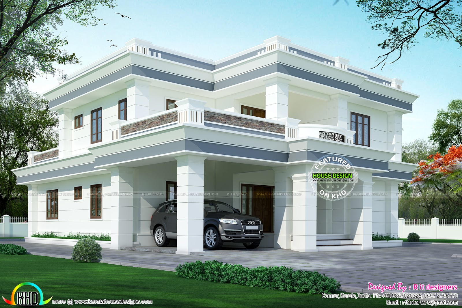 Kerala home design and floor plans modern flat roof house for Kerala home design flat roof elevation