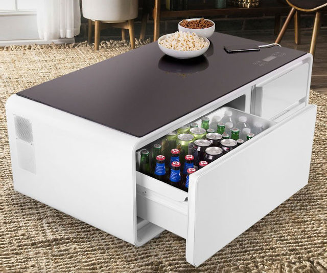 Bring your living room into the 21st century with the Sobro coffee table drink cooler. Apart from the ample refrigerated compartment, this versatile piece comes with built-in LED lights, charging ports, and Bluetooth speakers.