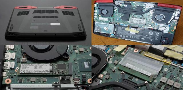 upgrades de memória ram e ssd acer vx5 parte interna
