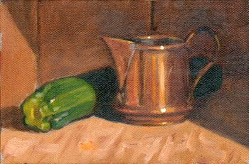 Oil painting of a small antique copper jug and a green zucchini.
