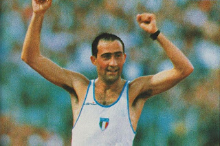 Maurizio celebrates after his victory in the 1987 World Championships in Rotterdam