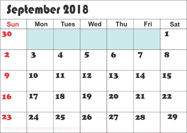 September 2018 Monthly calendar