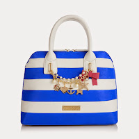 Floozie by Frost French Blue striped nautical charm kettle bag