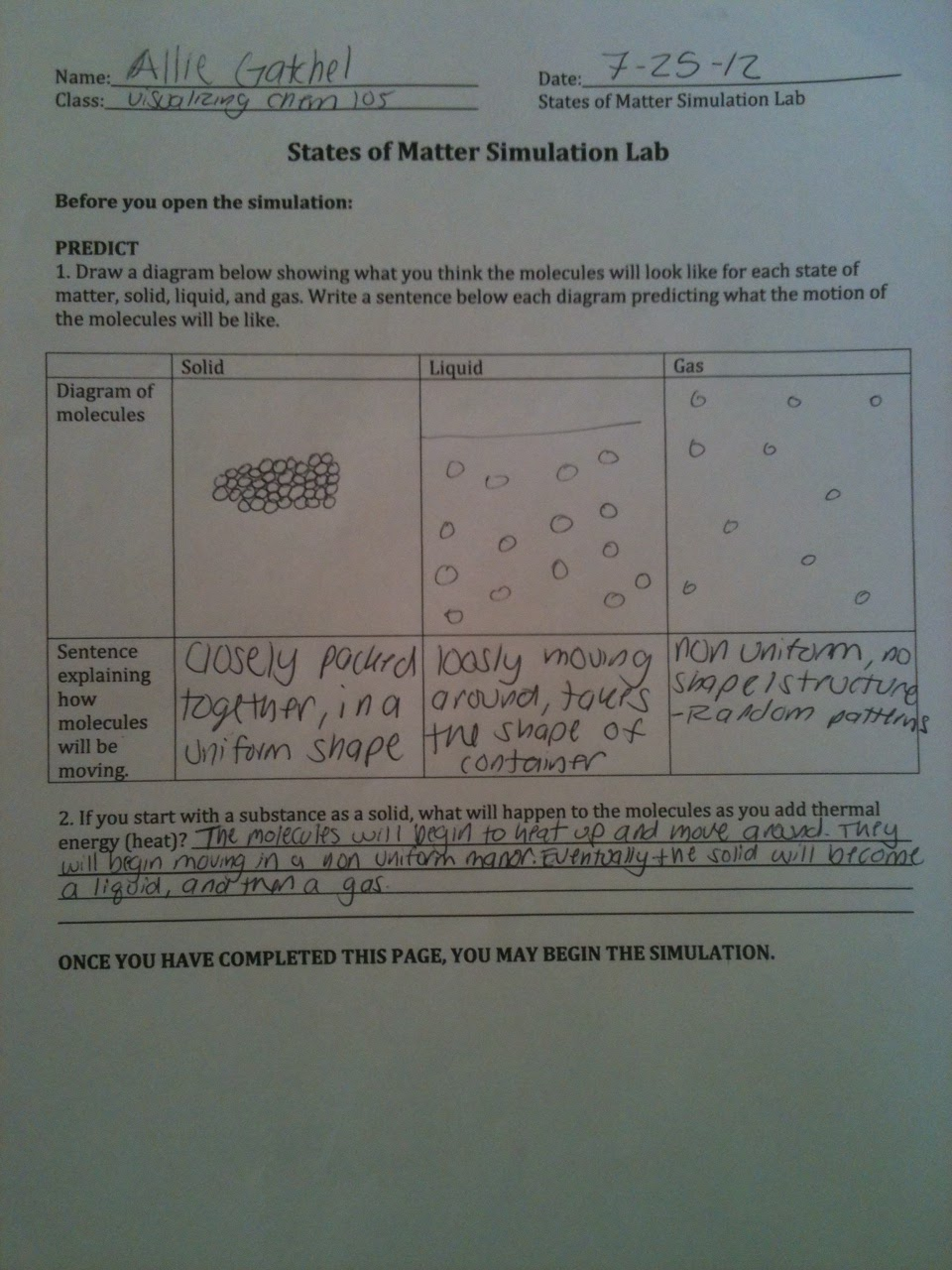 Activity 6: States of matter and Intermolecular forces