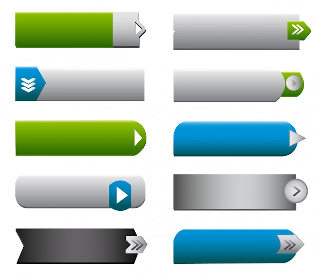 Flat Web Buttons Elements Free Vector