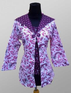 Model Baju Batik Kantor Wanita Berjilbab lengan panjang