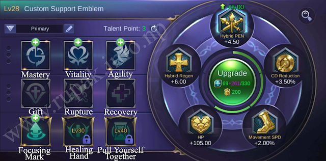 Mobile Legends Custom Support Emblem Details