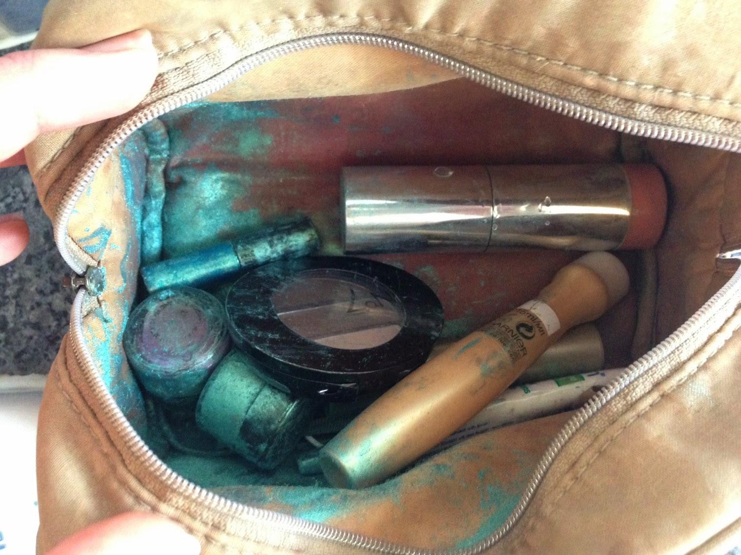 Make up bag full of green eye shadow