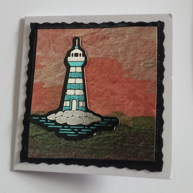 How to make a gift card using a small lighthouse (foiled) topper and Imagination crafts paints
