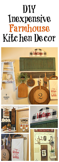 Thrifted & DIY Farmhouse Kitchen Decor #upcycle #stencil #buffalocheck #repurpose #cuttingboard #chalkpaint