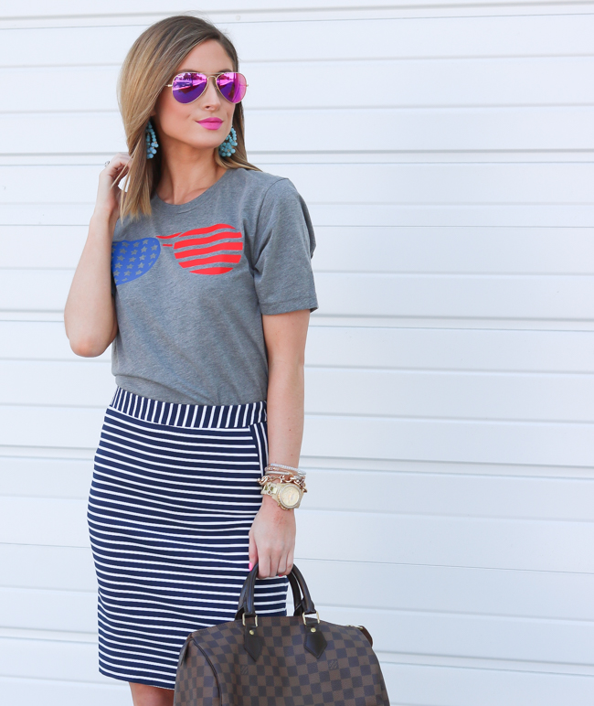 flag glasses tee striped skirt pink aviators