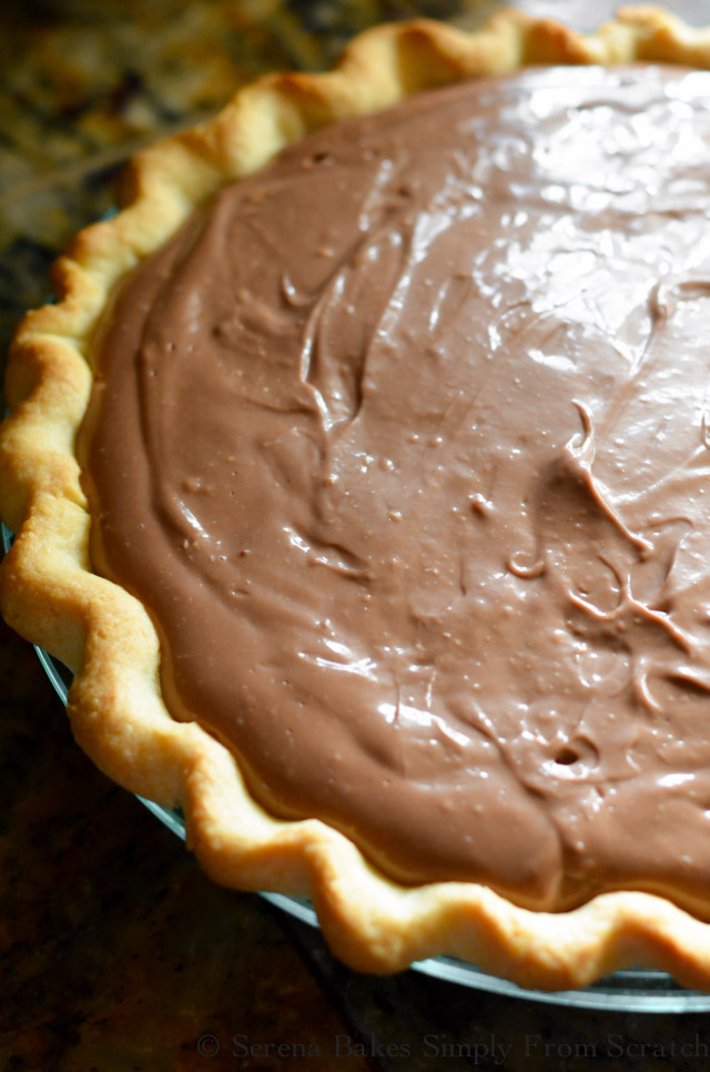 Pour Chocolate Pudding Cheesecake into baked pie shell.