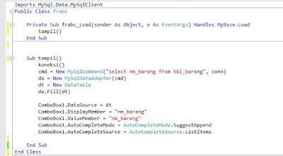 Membuat Autocomplete ComboBox Dari Database Di VB.Net
