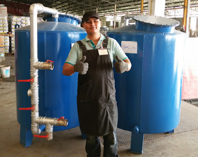 Two Water Filter tanks at Loading dock in Buriram