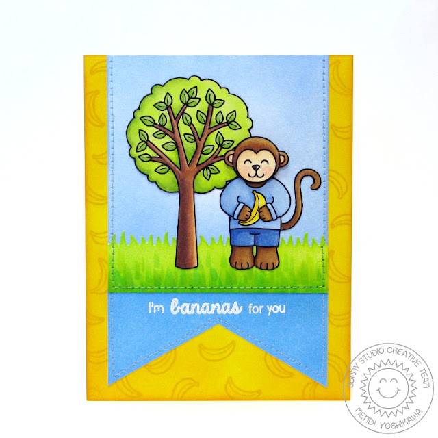 Sunny Studio: I'm Bananas For You Monkey card by Mendi Yoshikawa (using Summer Picnic & Comfy Creatures stamps, Sunny Sentiments and Fishtail Banner dies)