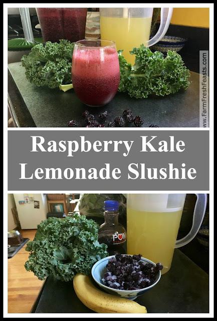 A refreshingly icy raspberry lemonade boosted with kale and pomegranate juice. This is a great way to get your greens in--after blending, the color of kale disappears into the drink.