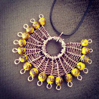 Copper Creations Spiders Web Wire Weave Pendant with Sunflower Beads, Copper Jewellery