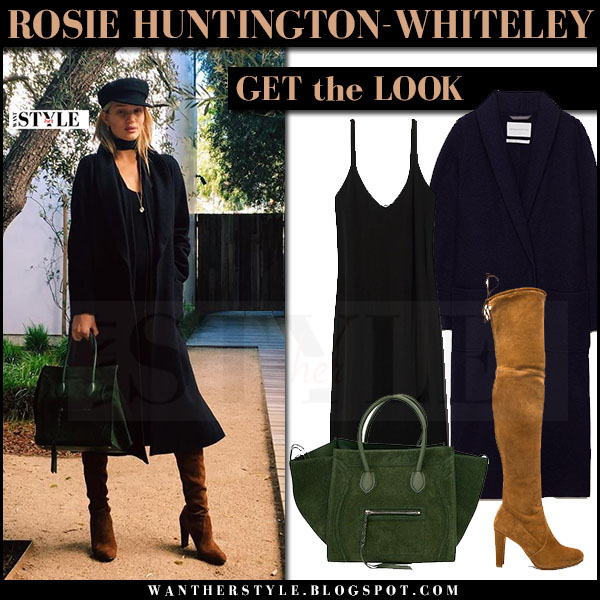 Rosie Huntington-Whiteley in black aritzia coat, brown suede boots with black hat what she wore model style