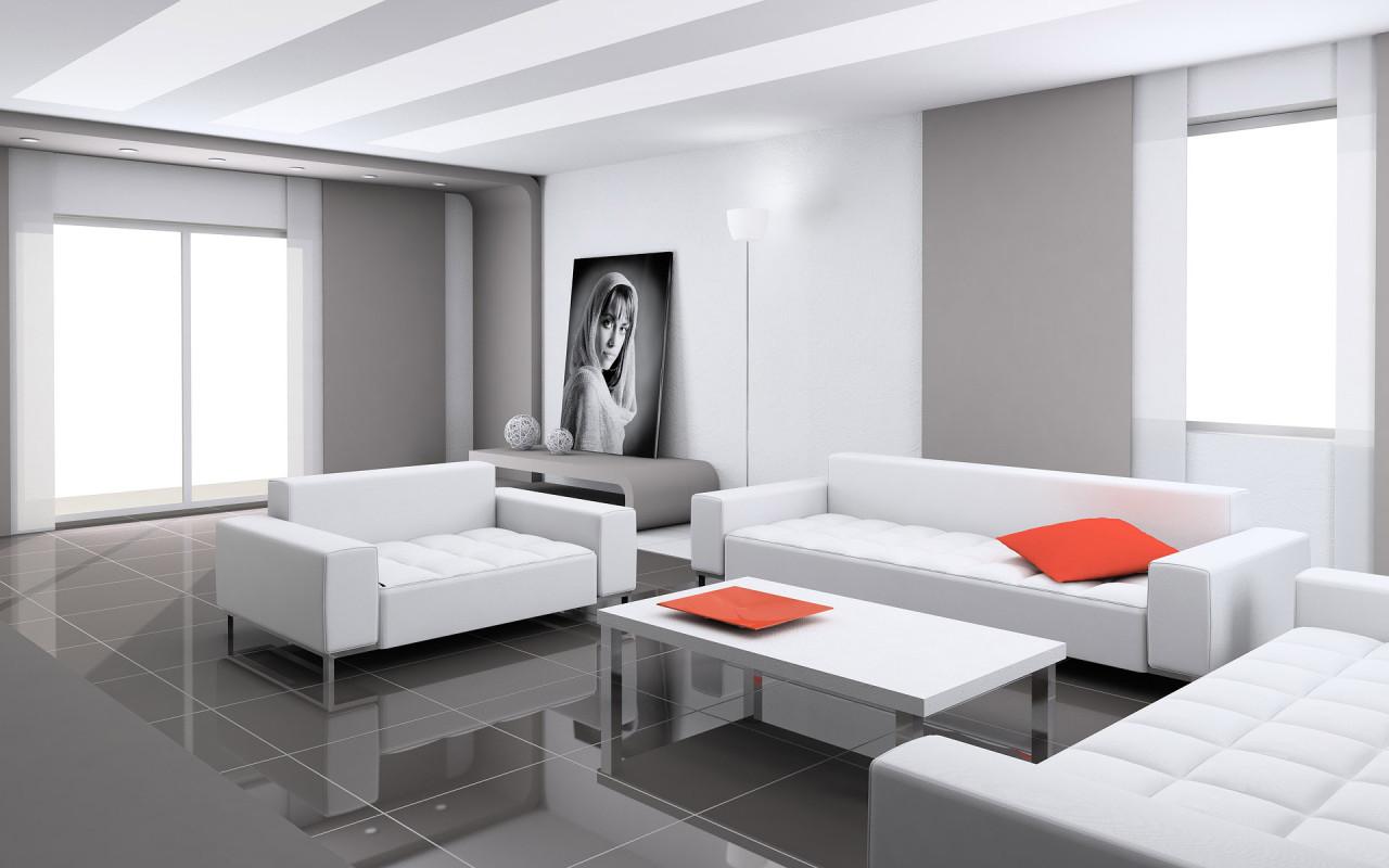Contemporary White Front Room ! Home Decor