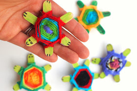 Woven Craft Popsicle Stick Turtles
