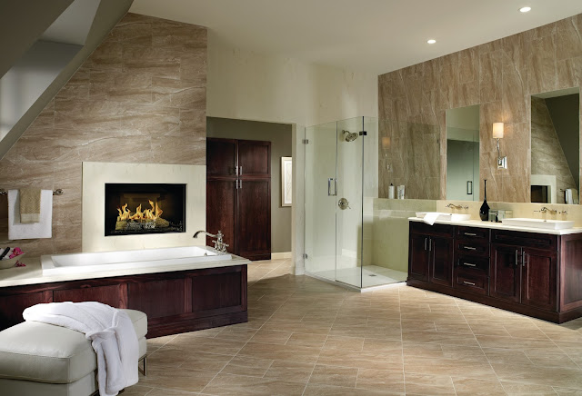 Porcelain tile is both beautiful and practical in this large bathroom